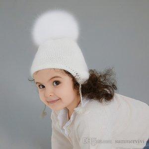 Baby kids true raccoon pompons knitted hats girls big plush ball beanie winter boys tassel protect ear muff knit cap Q2681