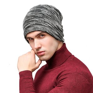 Autumn Winter Unisex Knitted Hats Wool Cotton Beanie with Velvet Casual Men Women Sleeve Skull Cap Bonnet Gorro Baggy Bouncy