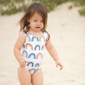 One-Pieces Kids Swimwear Suits Baby Swimming Girls Swimsuit Children Clothing Rainbow Bathing Beachwear Bikini 0-2T B4580