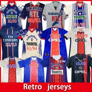 Париж Ретропсы 390 91 92 93 94 95 96 98 99 Anelka Okocha Weah Soccer Jersey 2001 2002 2003 Классическая футболка