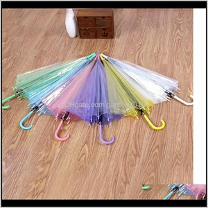 Household Sundries Home & Garden Drop Delivery 2021 Transparent Clear Pvc Dance Performance Long Handle Umbrellas Beach Wedding Colorful Umbr