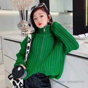 Girls candy color cardigan kids vertical stripe knitted sweater outwear children lapel long sleeve zipper casual tops Q2310