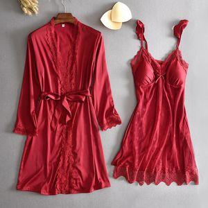 Satin 2PCS Sleep Set Women Kimono Robe Home Wear Patchwork Nightwear Intimate Lingerie Sexy Bathrobe Gown Summer Nightgown Women's Sleepwear