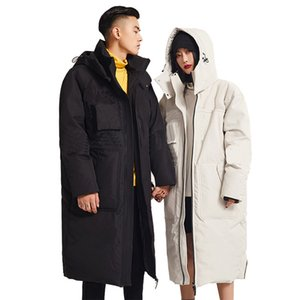 Luxury designer winter long down jacket men and women hooded couple loose thick warm
