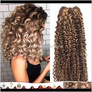 Wefts Extensions Products Drop Delivery 2021 Remy Brazilian Human Weave Curly Color Piano Ombre Blonde 99J Red Bury Hair Bundles Tn2Ym