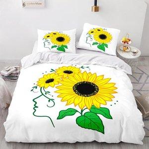 Bedding Sets Sunflower Set Single Twin Full Queen King Size Bed Flower Children's Kid Bedroom Duvetcover 017