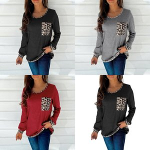 Autumn Winter Women's Long Sleeve T-shirts Fashion Round Neck Patchwork Leopard Print Ladies Sweater Shrits Outdoor Trendy Casual Clothes G93H2F7