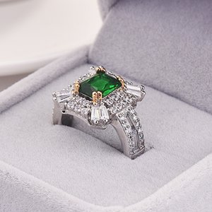 Full Diamond Emerald Square Solitaire Ring Zircon Luxury Jewelry JAccessories Unisex Two-color Plating Holiday Gift