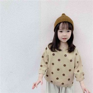 Early Autumn cute girls long-sleeved dot doll blouses 1-6 years kids loose casual Tops clothings 210708