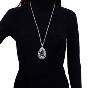Anhänger Halsketten Luxus Große Oval Kristall Glas Pullover Kette Lange Halskette Für Frauen Twist Ketten Party Kleid Statement Schmuck Geschenk