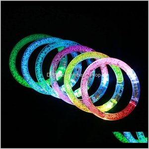Other Event Festive Home Garden Drop Delivery 2021 Led Glitter Glow Bracelet Flash Light Stick Acrylic Crystal Gradient Hand Ring Bangle Crea