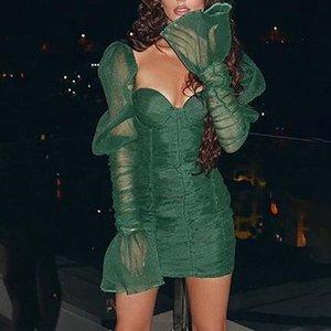 in stock Green Retro Mini Dress Sexy Mesh Pleated Bodycon Dress Ladies Flare Sleeve Party Dress Vestidos
