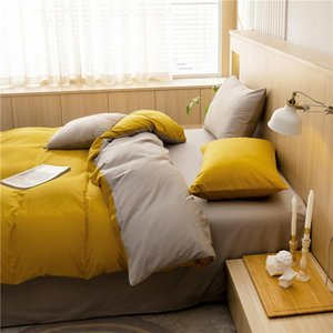 Bedding Sets Simple Set King 100%Cotton Yellow Khaik Duvet Cover BedLinen Pillowcase Solid Bedclothes Home El Textile Four Seasons