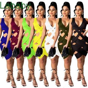 Women Skirt Fashion Dresses Ripped Sexy Sleeveless Solid Color V Neck Slim Bodycon Summer Designers Weave Clothes 2021