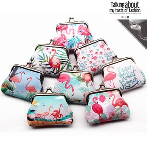 Vintage Printed Flamingo Animal Girl Pouch Kiss-Lock Change Purse Wallets Buckle Pu Leather Coin Purses Key Woman Bag