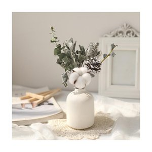 Gypsophila Dried Flower Bouquet With Porcelain Vase Flowers Branches Stems Greenery Decor K888 Decorative & Wreaths