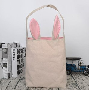 Happy Easter Burlap Ears Bags Basket Jute Buckets Tote With Kids Gift Home Decorations Wrap