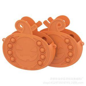 Halloween pumpkin basket silicone candy box fidget purses sensory push pop bubbles popper puzzle kids toys party ornament decor hand bag snack boxes G87DE05