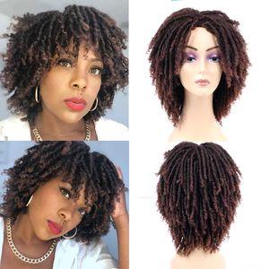 Синтетические парики Dreadlock Wig плетеный поворот для женщин Оммре черный коричневый мед блондинка короткая вьющиеся дневная вечеринка