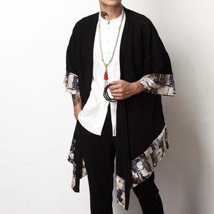 Chinese Style Cardigan Coat for Male Costume Clothing Jacket Men's Shirt with Plus size