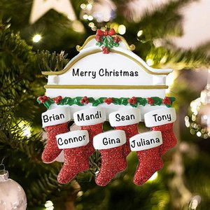 Resin Personalized Stocking Socks Family Of 2 3 4 5 6 7 8 Christmas Tree Ornament Creative Decorations Pendants HH21-625