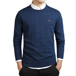 men's and womens ClothingO-neck Brand sweater New sleeve winter Men's long 100% cotton four colors embroidery harmont pullovers sweaters blaine dLD5R