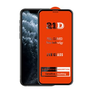 21D Full Cover Glue Tempered Glass Phone Screen Protector film For iPhone 13 12 MINI PRO 11 XR XS MAX 8 7 6 6S samsung huawei