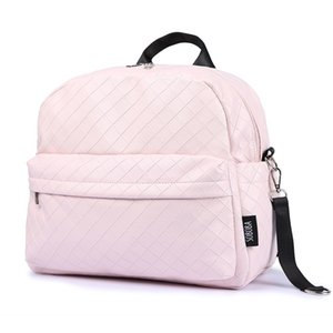 Soboba Fashionable Plaid Pink Diaper Bag for Mommies Large Capacity Well-Organized Space Maternity Backpack Strollers 210907