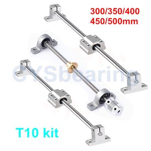 Bearings Horizontal Shaft Dual Rail Rod Coupling Support Linear Bearing Guide Lead Screw 300 350 400 450 500mm T10 SC10UU KP000 SK10 Set