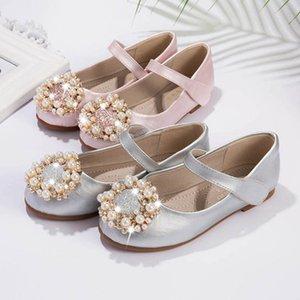 Sneakers Kids Shoes Casual Girls Footwear Children Shoe Pearl Flower Princess Leather Party Dress Wear Rhinestone B5161