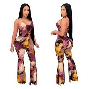 Dame's Sexy Nightclub Porter Combinaisons Charmantes Femmes Halter Dace-up sans manches Skinny Skinny Skinny Teinture Imprimation Épurée