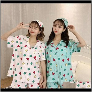 Suits & Blazers Womens Clothing Apparel Drop Delivery 2021 Summer Women Sets Single Breasted Shirts Striped Pajamas Shorts Set With Three Pie