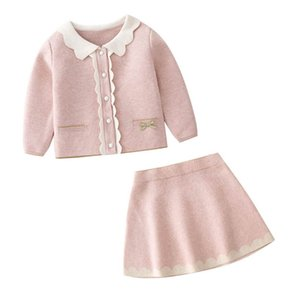 Girls Sweater Sets Kids Clothing Crochet Outfit Knitting Patterns Baby Clothes Knitted Cardigan Coat Skirt Princess Autumn Winter 2Pcs B8341