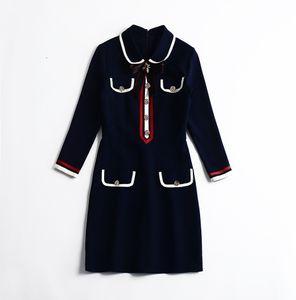1130 XXL 2021 Runway Brand Same Style Long Sleeve Lapel Neck Dress Blue White Womens Clothes Luxury Fashion SH