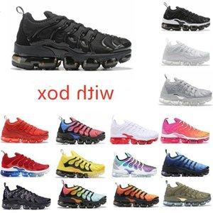 2021 Üçlü TN Artı Metalik Beyaz Gümüş Siyah Erkekler Koşu Ayakkabıları ile Kutusu Trainer Sneaker