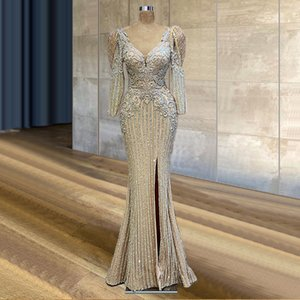 Glitter Mermaid Side Split Evening Dresses V Neck Long Sleeve Lace Appliqued Beaded Special Occasion Prom Gowns 2021 Plus Size