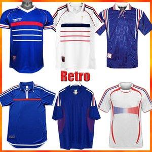 Retro 1998 França Jersey 96 98 02 04 06 Zidane Henry Maillot de pé Camiseta 2000 Home AwayTrezEcuet Futebol Uniformes
