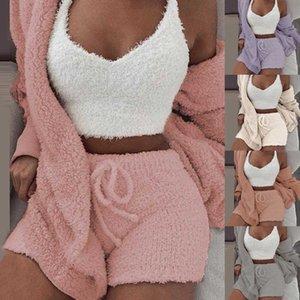 Sweatpants Set Plush Pieces Tracksuit Sweatshirts Women 3 Sweatsuit Jacket Crop Top Shorts Sports Suit Jogging Femme 202