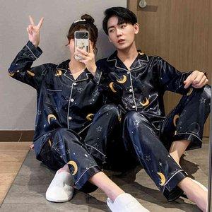 New Luxury Pajama set Satin Silk Pajamas Sets Couple Sleepwear Family Pijama Lover Night Suit Men & Women Casual Home Clothing
