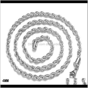 Chains Necklaces Pendants Drop Delivery 2021 1624Inches Arrive 925 Sterling Sier Pretty Cute Fashion Charm 4Mm Rope Chain Necklace Jewelry 3E