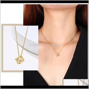 & Pendants Drop Delivery 2021 Chic Hollow Cube Pendant Necklaces For Women Gold Color Stainless Steel Metal Coin Charms Choker Collar Gifts H