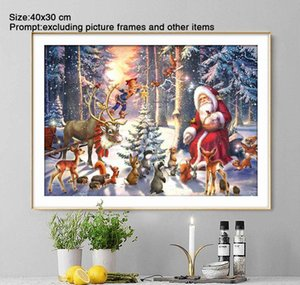 Paintings Arts Crafts Gifts Garden Drop Delivery 2021 5D Diy Diamond Full Round Christmas Decorations For Home Santa Claus Daimond Painting A