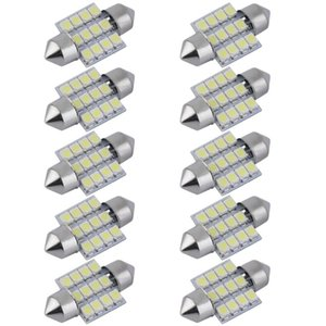 Car Headlights 10PCS Bright 12SMD 3528 Auto Map Dome Interior Lights Bulb 31mm Festoon Lamp For License Plate