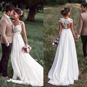 Beach Lace Appliques Bride Dress New Cap-Sleeves Slit Side White Wedding Dresses 2021 Boho Bridal Gown vestido de noiva