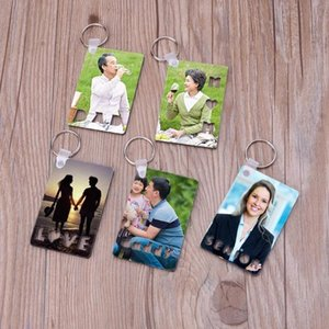 Blank MDF Thermal Transfer Keychain Pendant Square Sublimation Printing Keyring with Round Ring