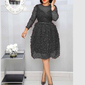 Fashion Party Africa Dress Women Sexy Appliques Mesh Patchwork Office Sequins Dress Vintage Prom Midi Vestidos Plus Size New