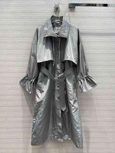 2021 черный / серый длинные женские женские пальто с высоким конечным поясом кнопки женские пальто траншеи Милана взлетно-посадочная полоса 202122