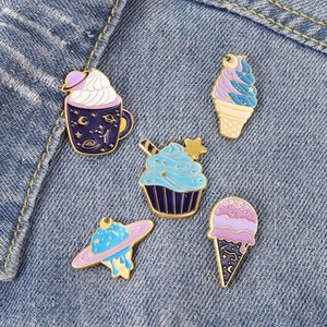 Planet Universe Ice Cream Enamel Pins Custom Cupcake Dessert Dream Brooches Clothes Cartoon Pin Playful Jewelry Gift For Kid