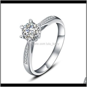 Wedding Rings Jewelry Drop Delivery 2021 9K,14K,18K White Gold 1Ct Fashion Classic Six-Claw Snowflake Engagement&Wedding Moissanite Diamond W