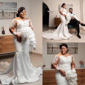 Modern Mermaid Wedding Gowns Plus Size Long Sleeves African Bridal Dress Fashion Scoop Neck Lace Appliqued Vestidos De Novia Satin Elegant Court Train 2021 AL8865